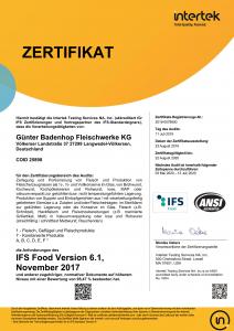Zertifikat_IFS Food_Günter Badenhop Fleischwerke KG_2019